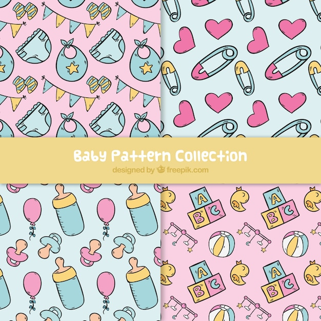 Baby patterns collection in hand drawn\ style