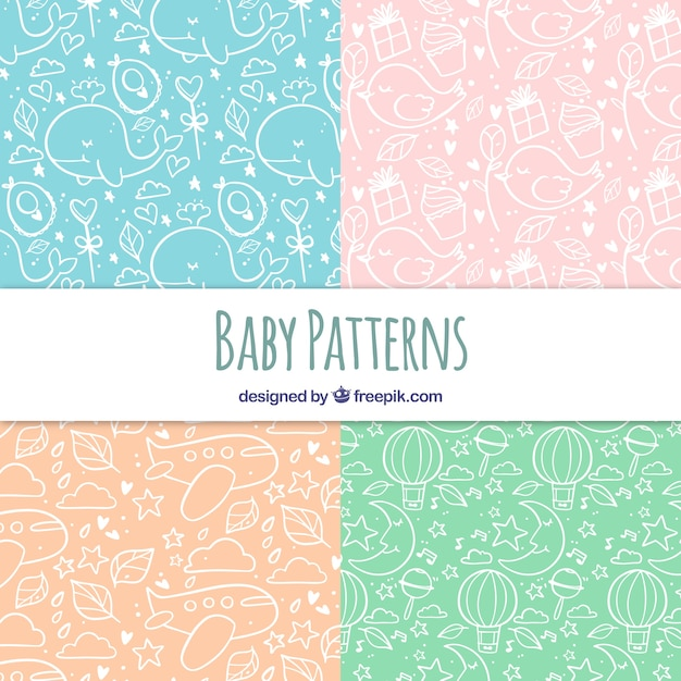 Baby patterns collection with cute elements Free Vector