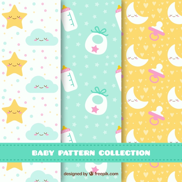 Baby patterns collection with toys and clothes Free Vector