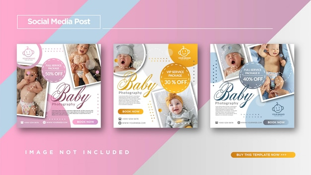 Baby photography instagram post templateプロモーション Premiumベクター