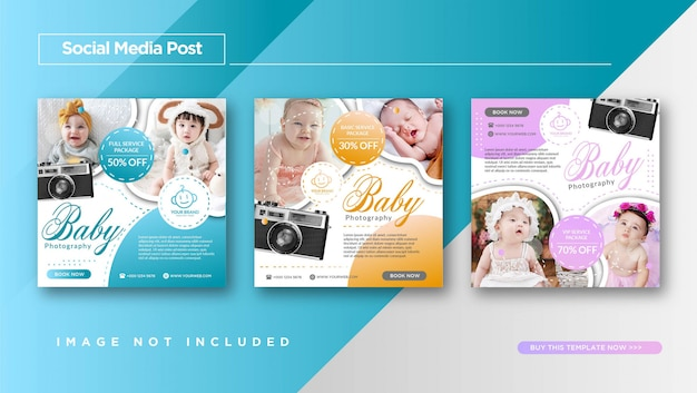 Baby photography service instagram post template promotion Premium Vector