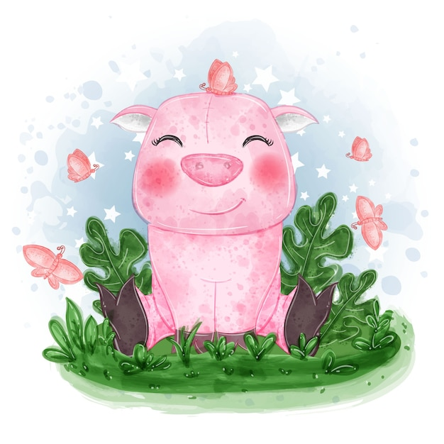 Baby pig cute illustration sit down on the grass with butterfly Free Vector