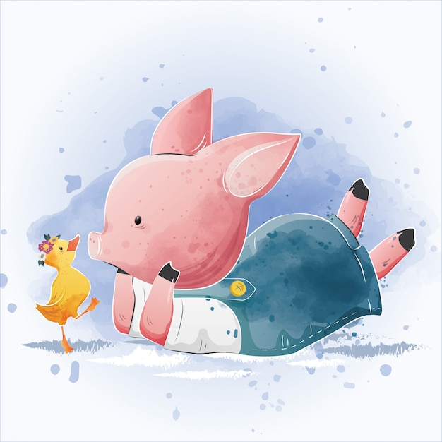 Baby piggy and the little duck Premium Vector