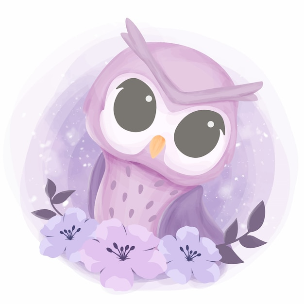 Baby pretty owl with flowers Premium Vector