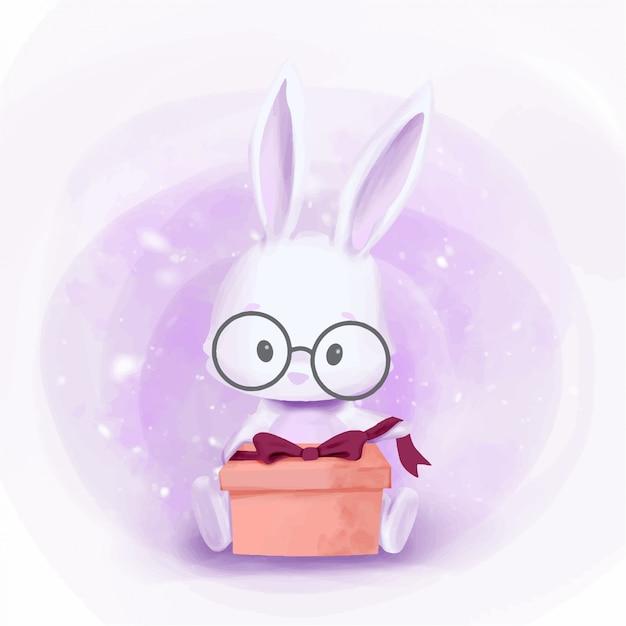 Baby rabbitギフト用の箱を用意する Premiumベクター
