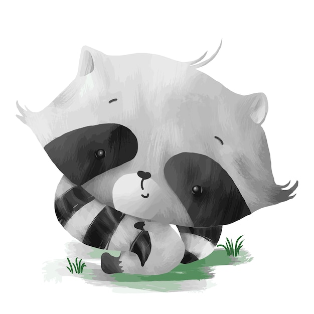 Baby raccoon holding its own tail Premium Vector