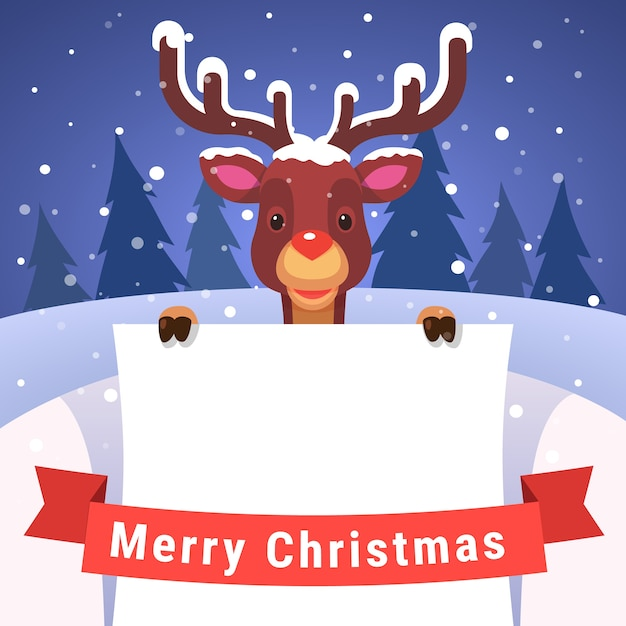 Baby reindeer holding white greeting card Free Vector