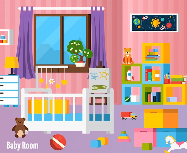 Baby room flat colorful composition Free Vector