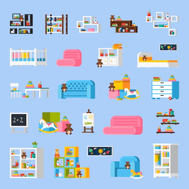 Baby room furniture flat decorative icons Free Vector