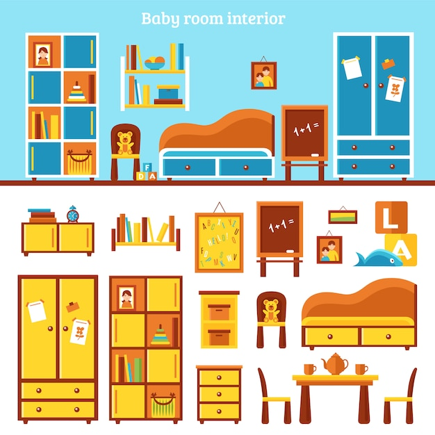 Baby room furniture infographics Free Vector