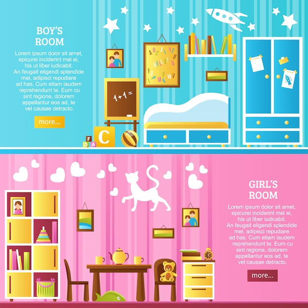 Baby room interior horizontal banners Free Vector