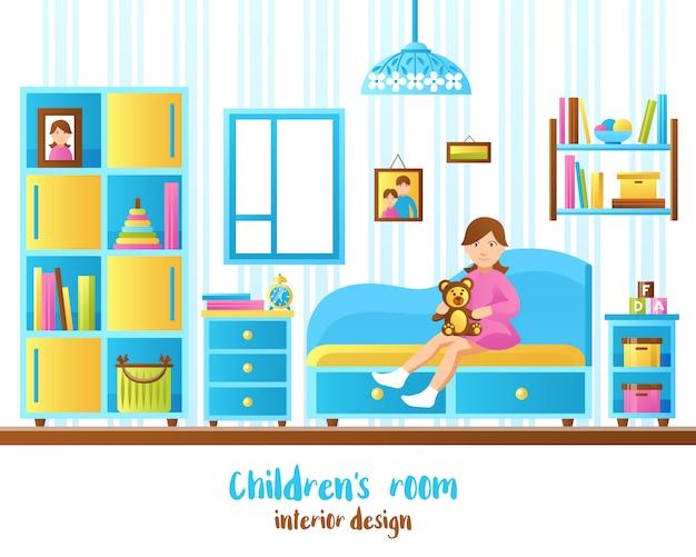 Baby room interior illustration Free Vector