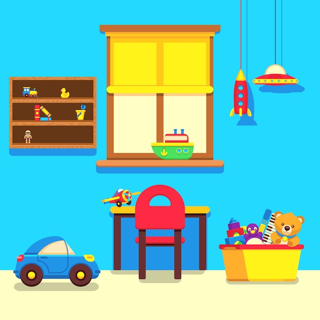 Baby room interior with window, work place and toys collection Premium Vector