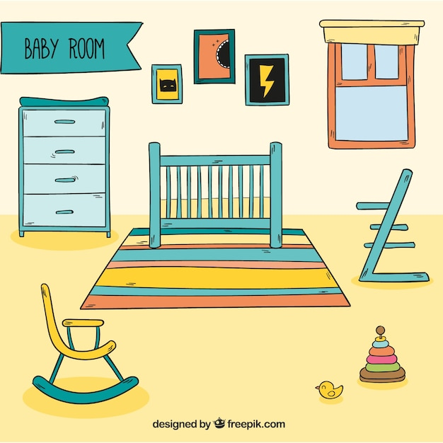 Baby room with buggy and accessories Free Vector