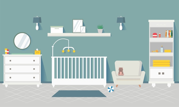 Baby room with furniture. nursery interior stylish interior. children's room. apartment design for newborn boy. Premium Vector