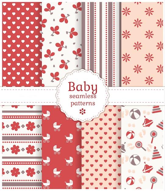 Baby seamless patterns. Premium Vector