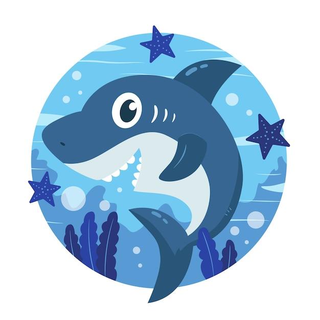 Baby shark in cartoon style concept Free Vector