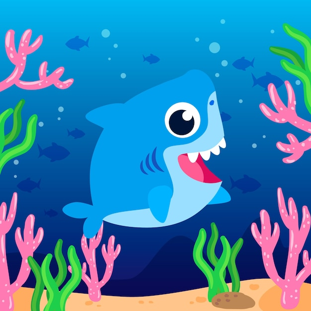 Baby shark in cartoon style illustration Free Vector