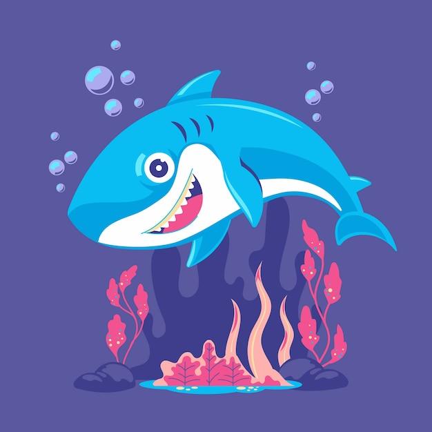 Baby shark in cartoon style illustration Free Vector