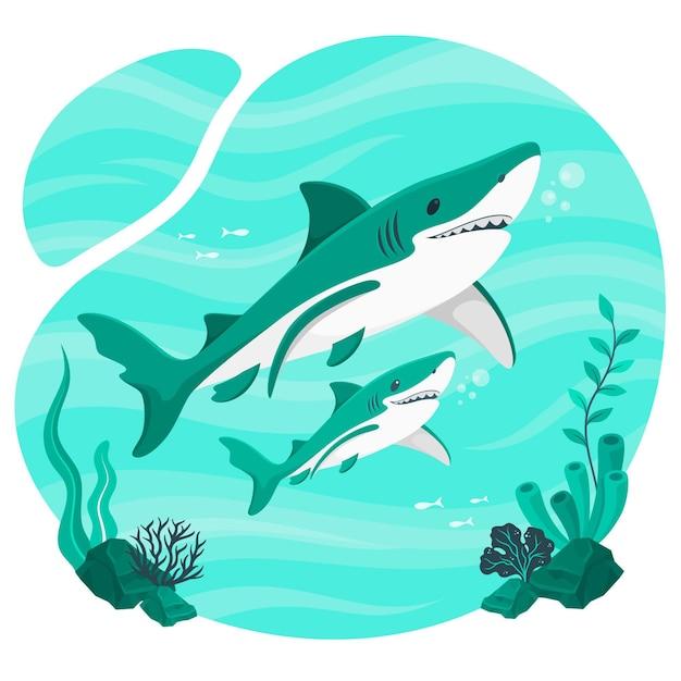 赤ちゃんサメの概念図 無料ベクター
