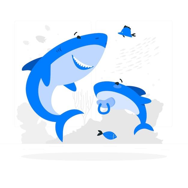 Illustrazione di concetto di squalo bambino Vettore gratuito