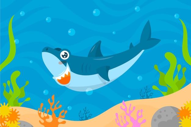 Baby акула иллюстрированная концепция Premium векторы
