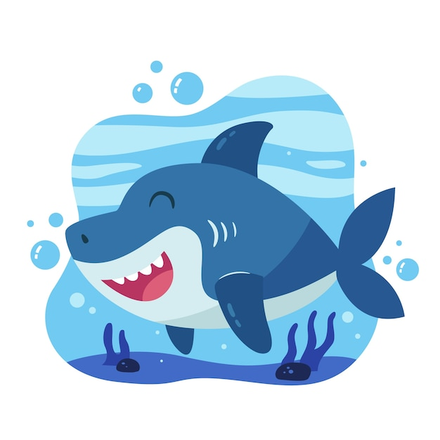 Baby акула в мультяшном стиле Premium векторы