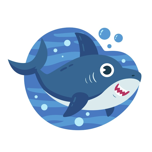 Baby акула в мультяшном стиле Бесплатные векторы