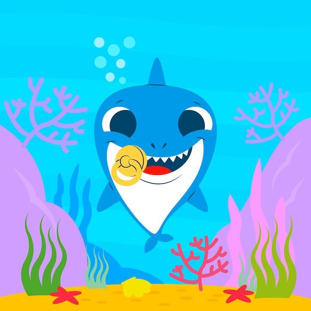 Baby shark water concept Free Vector