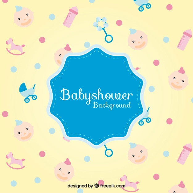 baby shower accessories background vector free download