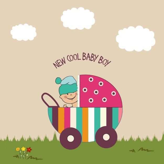 baby shower background with baby stroller vector free download