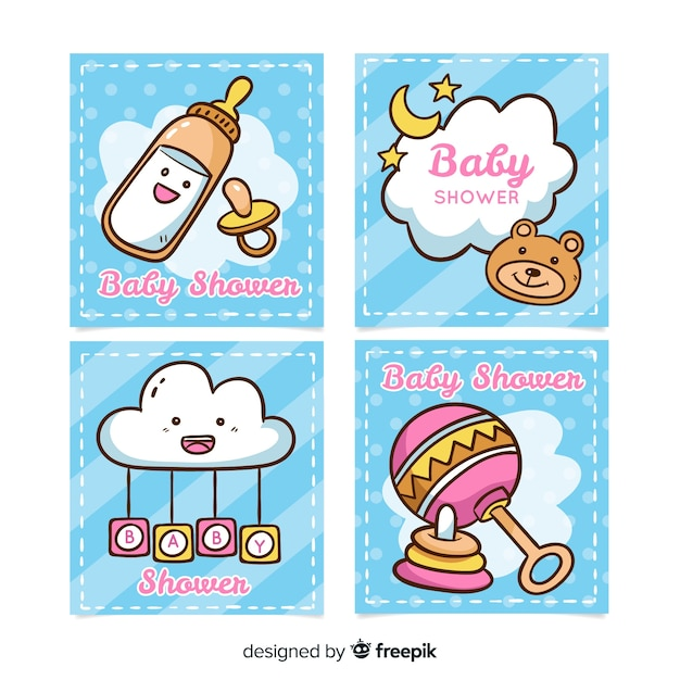 Baby shower background Free Vector