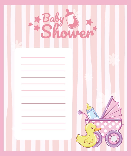 Baby shower blank note card with cute animals cartoons ...