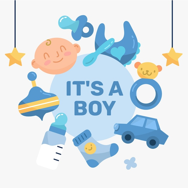Baby shower boy backgroundwith toys Free Vector