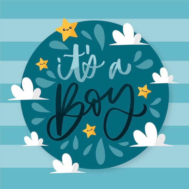 Baby shower boy background Free Vector