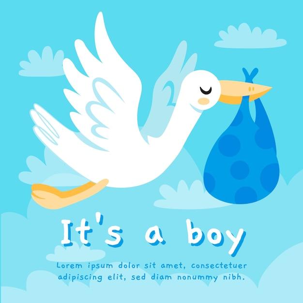 Baby shower boy background Free Vector