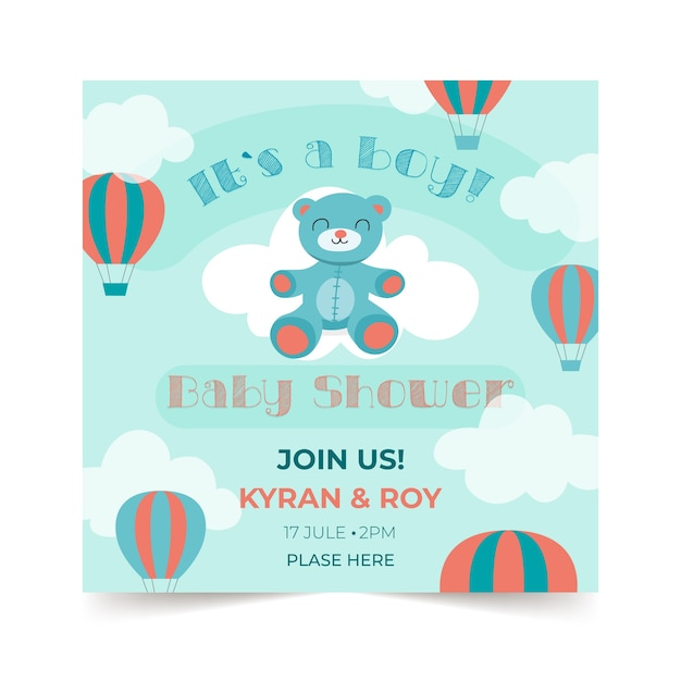 Baby shower boy invitation template Free Vector