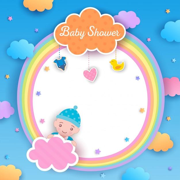 Baby shower boy rainbow Premium Vector