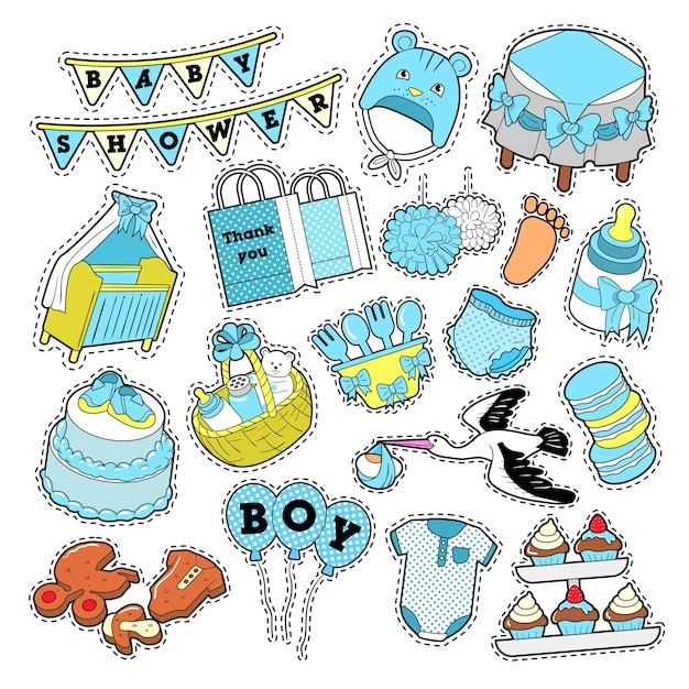 Baby shower boy stickers, badges, patches for birthday party decoration. vector doodle Premium Vector