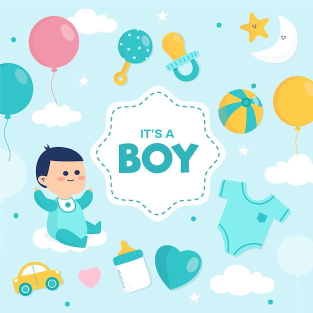 Baby shower (boy) with balloons and toys Free Vector