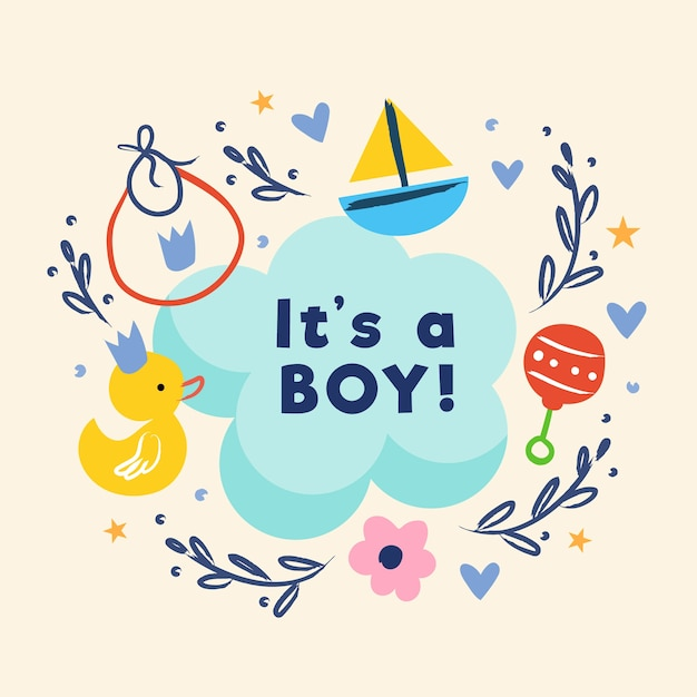 Baby shower (boy) with toys Free Vector