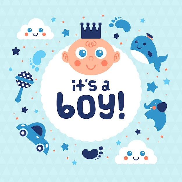 Baby shower for boy with toys Free Vector