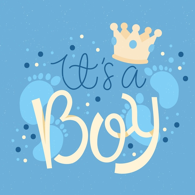 Baby shower for boy Free Vector