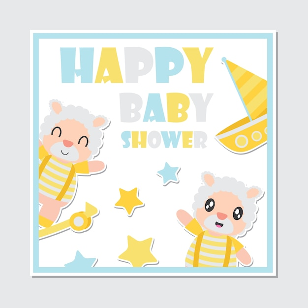Baby shower card of cute sheep boy and toys vector cartoon Premium Vector