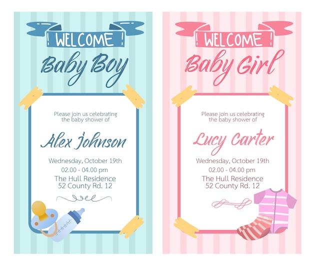 女の赤ちゃんと男の子の赤ちゃんコレクションセットのベビーシャワーカードデザインベクトル。 Premiumベクター