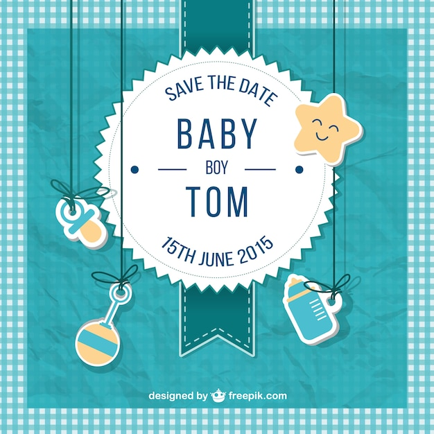 Baby Shower Card For Boy In Scrapbook Style Free Vector