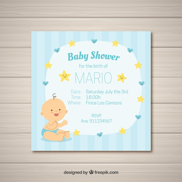 Baby Shower Card For Boy Free Vector
