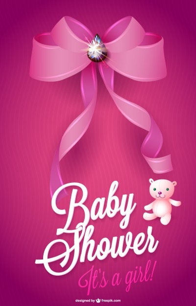 Baby shower card for a girl with pink ribbon Free Vector
