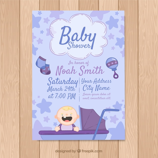 Baby shower card in hand drawn style Free Vector