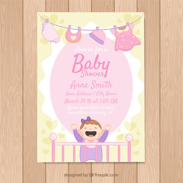 Baby shower card in hand drawn style